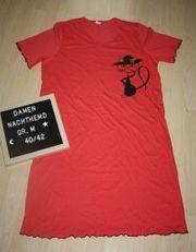 Damen Nachthemd Schlafshirt Nachtshirt Bigshirt Nachtwäsche Sleepshirt Nightshirt Katze rot M 40/42 gebraucht kaufen  Sonneberg