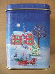 Teedose weihnachtliche Schneelandschaft eckig matt
