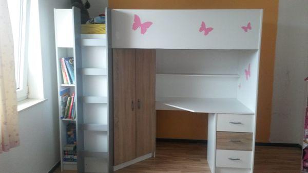 Etagenbett Mit Schreibtisch Günstig : Kinder etagenbett mit integriertem schreibtisch und kleiderschrank
