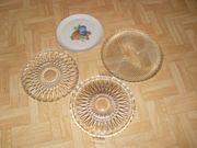 4 Stück Tortenplatten Kuchenplatte-Obstplatte Glas