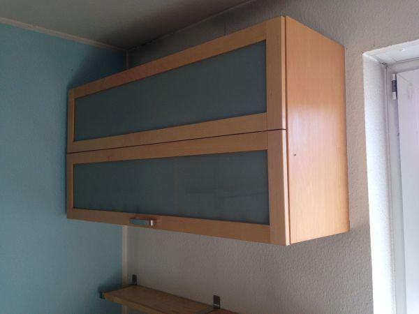 Hängeschrank VÄRDE IKEA Küche Doppelflügeltür mit Glaseinlegeböden ...