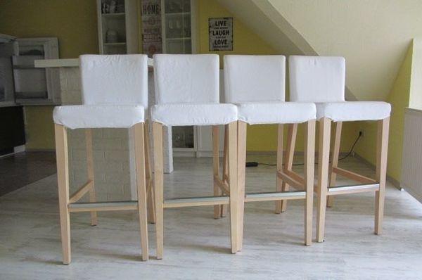 Barhocker HENRIKSDAL, Birke, Linneryd natur - Germersheim Sondernheim - Verkaufe wegen Umzug und Platzmangel vier Barhocker von Ikea (Stoffüberzug (weiß) ist waschbar)Die Stühle haben gepolsterte Sitze und sind mit Fußstützen.Stühle sind etwa 3 Jahre alt und haben leichte Gebrauchsspuren an den - Germersheim Sondernheim