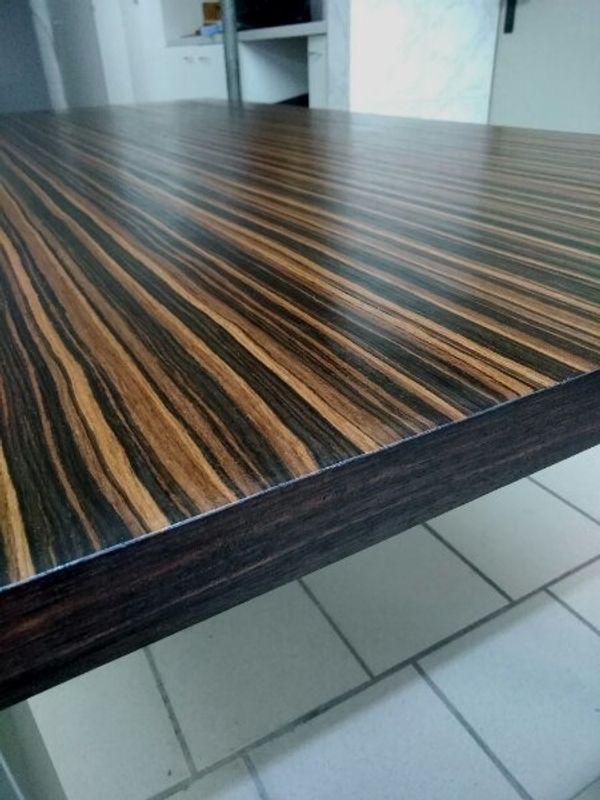 Tisch Makassar Echtholz Furnier Edel - Herne Eickel - EINZELSTÜCKOberfläche geöltMakassar Tisch185 cm lang86 cm breit77,5 cm hochEdelstahlgestellSCHREINERARBEIT !!! - Herne Eickel