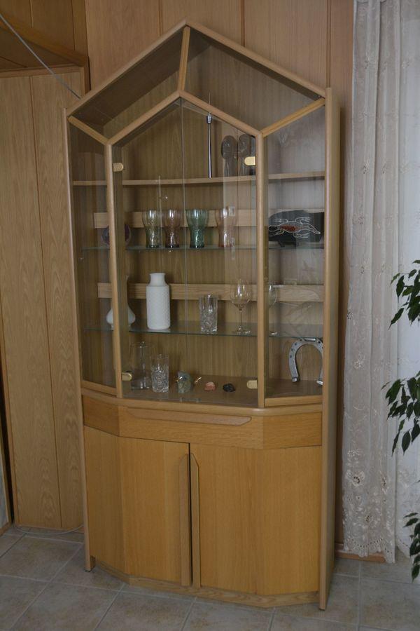 Wohnzimmerschrank Mit Glasvitrine Helles Holz Eichenfurnier Sgt