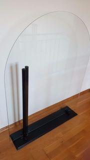 Glasbodenplatte, Funkenschutzplatte, halbrund -