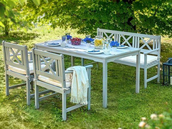Gartenmöbel set holz grau  Gartenmöbel Set Holz grau 4-Sitzer Auflagen beige MODICA. Beliani in ...