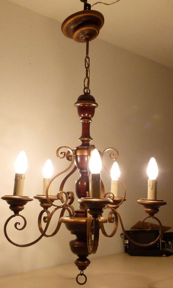 Lüster, Kronleuchter, Deckenleuchte, Deckenlampe, rustikal Holz und ...