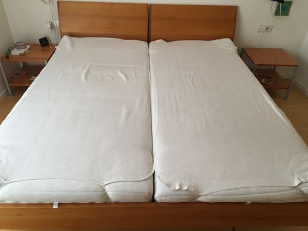Doppelbett Mit Beistelltischen Lattenrost Und