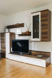 Anbauwand Wohnwand inkl Sideboard Kernnussbaumfarben-weiss