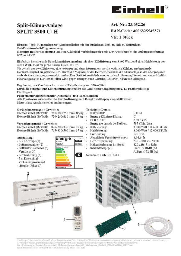 Klimaanlage EINHELL Split 3500 C+H in Edingen-Neckarhausen - Öfen ...