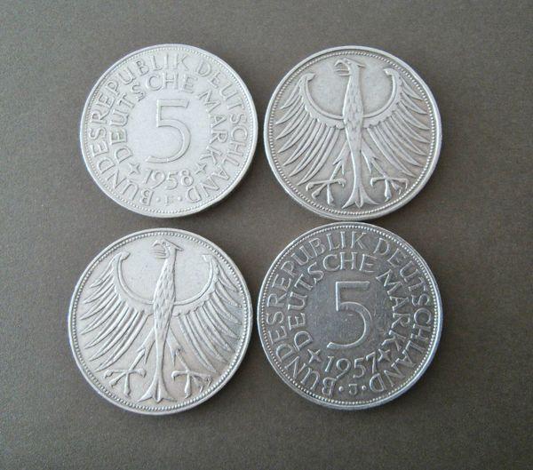 13 X 5 Mark 5 Deutsche Mark Silberadler 1951 59 63 65 66