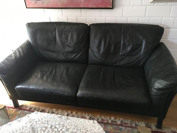 Sofa 2 Sitzer Und Sessel Leder Schwarz Hochwertig Und Gemutlich In