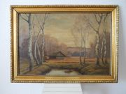 Bild mit Holzrahmen goldfarbig Motiv-Herbstwald