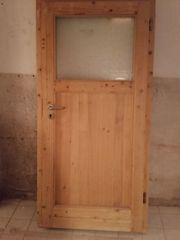 Holz-Nebeneingangstür mit Fenster 98 cm