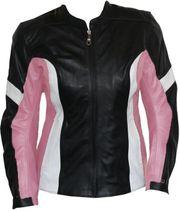 Damen Motorradjacke Rindsleder rosa