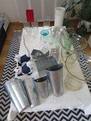 Windlichter Kerzenständer Vasen gemischt Konvolut