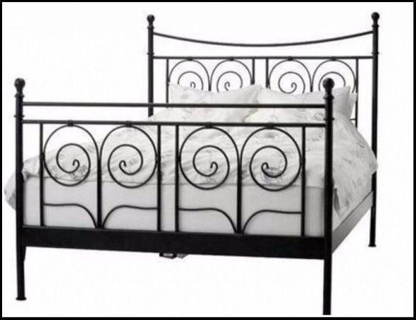 Bett Aus Metall Schwarz Ikea Noresund 180 X 200 Cm Mit Lattenrost In