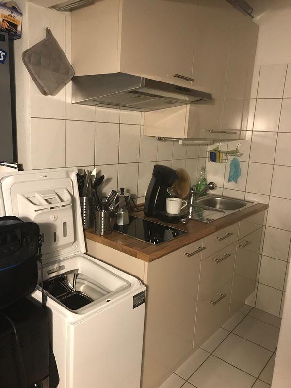 Küche/Küchenzeile creme inkl. 2-Platten-Herd und Dunstabzugshaube in ...