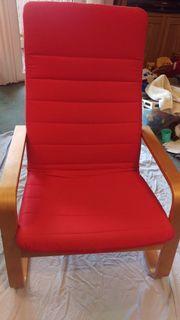 Roter IKEA Freischwinger-Sessel ähnlich Poäng