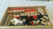 Holz-Bausteine Dorf Dominospiel