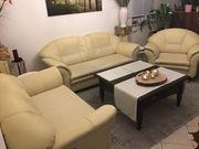 Couchgarnitur 3-2-1 beige Lederoptik