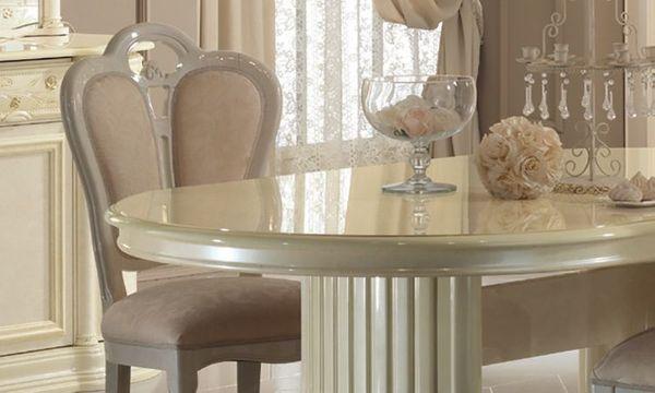 Esstisch Wohnzimmer Esszimmer Tisch Oval Hochglanz Beige Klassische