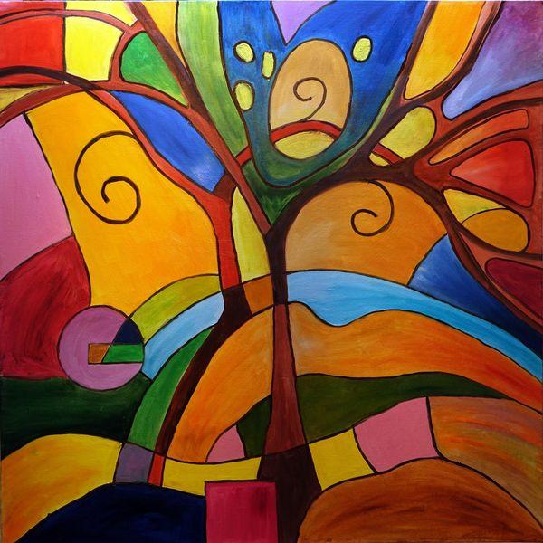 Kunst Gemälde ölbild abstrakte malerei geometrische formen kubismus lebensbaum