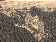 Burg Schloss original Tusche Zeichnung