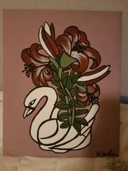 schwanenvase mit pflanze