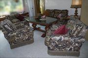 Wohnzimmer-Sitzgarnitur Brokat mit daunengefüllten Auflagen