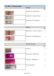 Eintrittskarten - Sammlung TSV
