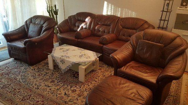 Echtleder Couchgarnitur, bordeauxrot, » Polster, Sessel, Couch