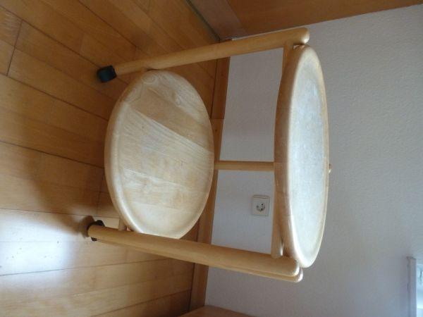 Servierwagen mit Tablett massiv Holz - Gerlingen - auf Rollen, Durchmesser Tablett 47 cm, Tablett drehbar, zusammenklappbar - Gerlingen