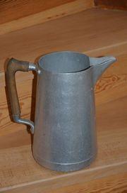 Milchkanne Aluminium antik mit Holzgriff