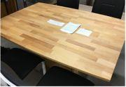 Designer Esstisch massives Holz Chromfuss