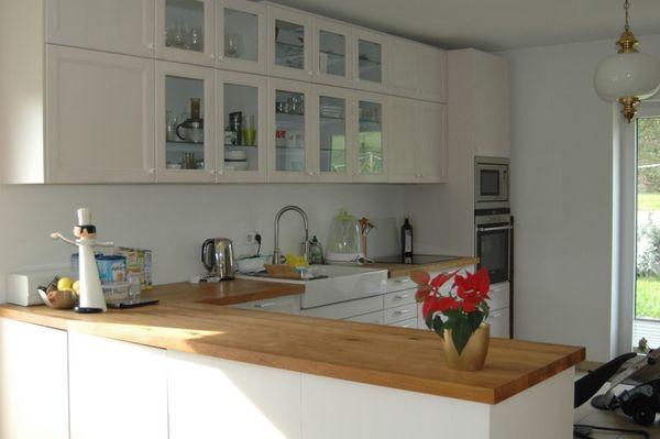 Ikea Küche Laxarby weiß mit Eiche Massivholz Arbeitsplatte ...