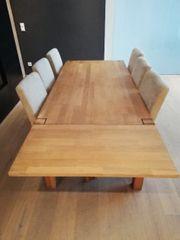 Vollholztisch mit 6 Stühlen