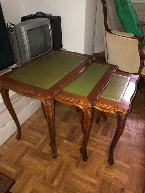 Designermöbel holz  3St.Holz Beistelltische Satztische Tisch-im-Tisch Antik in München ...