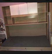 Schrankbett mit Regalüberbau