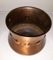 Kupferblumentopf verziert antik Metalltopf