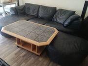 Schwarze Leder Sofa