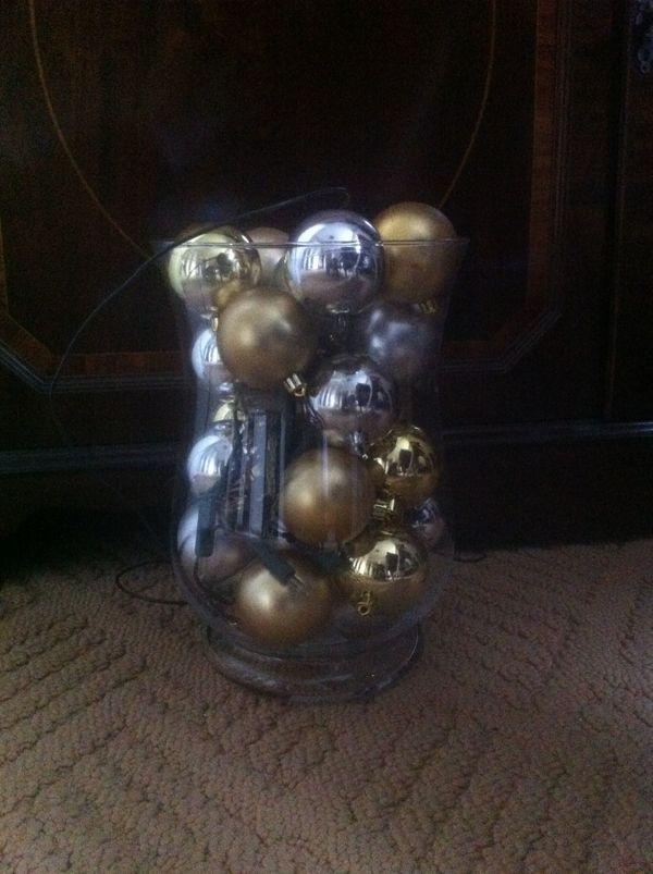 Advent Weihnachten Edle Deko Lampe Vase Kugeln Lichterkette In