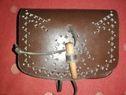 Gürteltasche Mittelalter Leder dunkelbraun sehr
