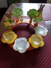 Osterdeko mit Teelichten