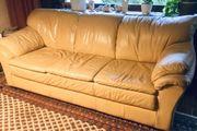 Couchgarnitur Leder 3-2-1 beige gelb
