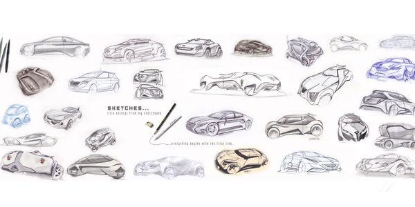 Schritt für Schritt Produkt,Industrie oder Auto-Design Zeichnen ...